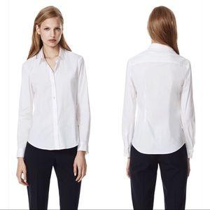 NWT Theory Larissa Luxe White Button Down Shirt m